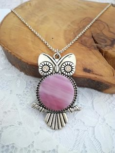 Pink owl Owl necklace Owl pendant Owl jewelry Owl gift