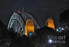 #SYDNEY #HARBOUR #BRIDGE BY NIGHT -Different angle. Prints/Cards available:  http://kaye-menner.artistwebsites.com/featured/sydney-harbour-bridge-by-night-different-perspective-kaye-menner.html -