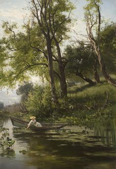 Arthur Parton - Woman in a Rowboat offered by Godel & Co Fine Art Inc. on InCollect Hudson River School Paintings, Romanticism, 19th Century, Fine Art, Woman, Paintings, Women, Romance Comics, Visual Arts