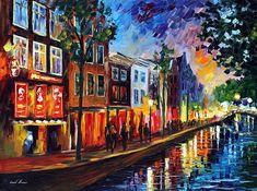 Netherlands paintings by Leonid Afremov https://afremov.com/Netherlands-Amsterdam/
