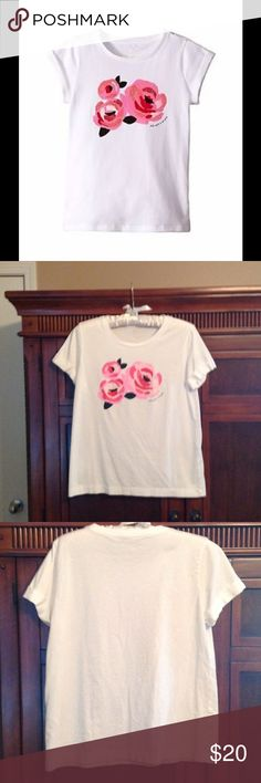 Kate Spade ♠️Broome Street sparkling floral tee 100% cotton crew neck tee, with cuffed sleeves.  Really cute.  I love Kate's tees, but crew necks do not look good on me.😟 red, pink and with with a splash of sparkle.  Worn a handful of times, but no stains or tears.  In EUC kate spade Tops Tees - Short Sleeve