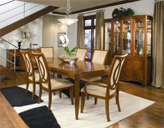 Awesome Classic Dining Room Furniture by Modenese Gastone : Classic Dining Room Furniture With White Wall Window Brown Curtain Wooden Stair Dining Table Chair Stool Chandelier Flower Carpet Hardwood Floro Cupboard