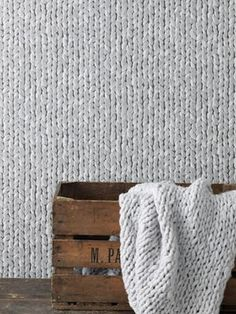 Knitting patterns on wallpaper - I love this, must try it in my living room