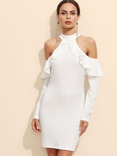 14$  Watch here - http://didyg.justgood.pw/go.php?t=11412 - White Open Shoulder Zipper Back Ruffle Dress