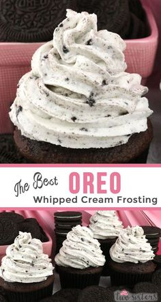The Best Oreo Whipped Cream Frosting - tastes like whipped cream but frosts like buttercream with the perfect blend of Oreo Cookies 'n Creme flavor.  This recipe is a keeper!  A great frosting for the Oreo Cookie lover in your life. This whipped cream frosting holds its shape, lasts for days and can be used to frost both cake and cupcakes. Pin this homemade icing for later and follow us for more great Frosting Recipes! #Frosting #FrostingRecipes #Oreo #CookiesnCreme