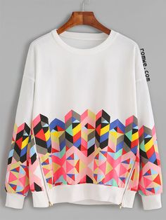 White Geo Print Drop Shoulder Zips Side Sweatshirt