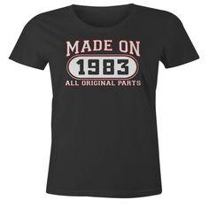 33rd Birthday Gift T-Shirt - Made In 1983 All Original Parts - Short Sleeve Womens T-Shirt