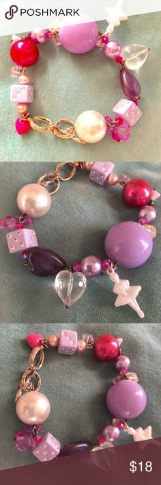 Kawaii Tarina Tarantino Style Swarovski Bracelet Brand new, ballerina charm bracelet in hues of purple and pink. This bracelet is handmade by Posh Adornments which is sold in boutiques and online. It is in the style of Tarina Tarantino or Betsey Johnson, and is a very fun piece. It has an adjustable toggle that can fit 2 sizes of wrists, and is made with beads, and Swarovski crystals throughout. Boutique Jewelry Bracelets
