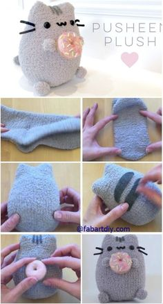 "DIY Donut Pusheen Cat Sock Plush Softie Tutorial (Video), an easy sew animal toy. DIY Donut Pusheen Cat Sock Plush Softie Tutorial (Video), an easy sew animal toy for kids and ""ki Sock Crafts, Cute Crafts, Felt Crafts, Sewing Crafts, Sewing Projects, Crafts For Kids, Sewing Toys, Kids Diy, Easy Projects"
