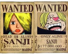One Piece Sanji Wanted Poster
