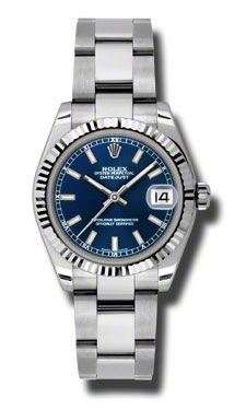 Rolex Datejust Blue Dial White Gold Bezel Automatic Steel Ladies Watch 178274BLSO