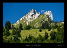 Swiss mountains in the morning with moon....