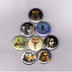 """Nirvana 1"""" Pins / Buttons (nevermind in utero kurt cobain bleach grunge shirt poster patch logo badges)"""