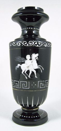 Antique Victorian Bohemian Harrach Amethyst Black Art Glass Vase White Enameled