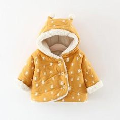 Cute Rabbit Hooded Quilted Coat for Baby Girls