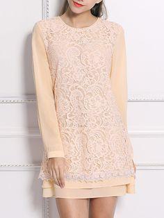 #AdoreWe StyleWe Mini Dresses - NADINE Pink Girly Crew Neck Paneled Mini Dress - AdoreWe.com