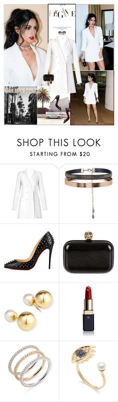 """""""Emeraude Toubia : )"""" by thisiswhoireallyam7 ❤ liked on Polyvore featuring Accessorize, Christian Louboutin, Alexander McQueen, Yoko London, Clé de Peau Beauté, Nephora, Delfina Delettrez, chic, white and dresses"""
