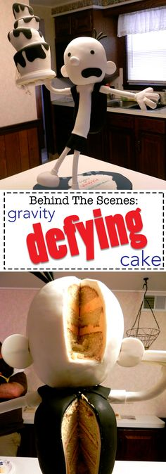 "A Gravity Defying Greg Heffley cake, from The Diaries of a Wimpy Kid. Come behind the scenes and see how I constructed this ""That can't be cake"" cake!"
