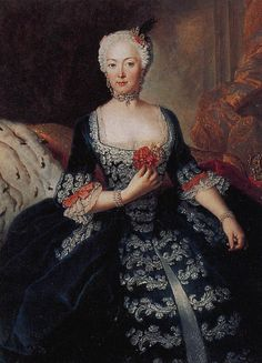 Prussian court fashion: Queen Elizabeth Christine, wife of Frederick the Great, wears a gown with a slightly squared neckline and narrow lace frills at bodice and sleeve. Note the trim on the pocket slits in the skirt of her open gown. She wears a diamond choker around her neck.