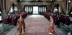 In the meeting hall, the officials stood at two sides of the hall, but when someone needed to conduct a dialogue with emperor or debate before the throne, he would need to step out the row and come to the floor in the middle. (from Nirvana in Fire)
