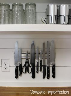 Magnetic Knife Storage // gets knife block off counter!  Space-saver.