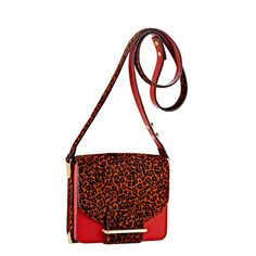 Loeffler Randall MINI BAG in Red leopard printed haircalf/Red leather