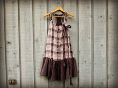 Sm. Eco Urban Chic Gray Plaid Cotton Dress// by emmevielle on Etsy
