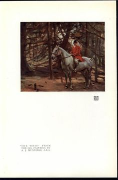 Riding Horse in the Woods Whip Dense Woods 1919 vintage color art print #Realism