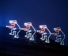 Famous neon of insurance company/ Wroclaw/ Poland Neon Colors, Colours, Light Painting, Neon Lighting, Poland, Neon Signs, Zoo, Mysterious, Lights