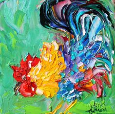 Original Racy Rooster palette knife painting impressionism oil on canvas fine art by Karen Tarlton