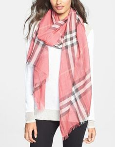 Pink is beautiful! Love this light weight Burberry check scarf.