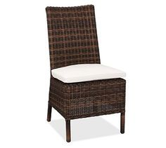 Outdoor dining. Torrey All-Weather Wicker Dining Chair #potterybarn