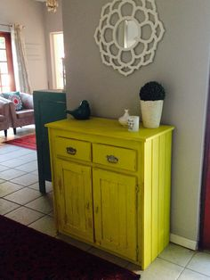 Annie Sloan yellow cubbie makeover Rhubarb Marmalade, Annie Sloan, Buffet, Cabinet, Yellow, Storage, Furniture, Design, Home Decor