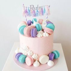 Goodies cake - backing - Macaron Pretty Cakes, Cute Cakes, Beautiful Cakes, Amazing Cakes, Drip Cakes, Gateau Baby Shower, Macaroon Cake, Bolo Cake, Cute Birthday Cakes