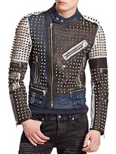 #Diesel Black Gold - Lustice #Studded Leather #Jacket.