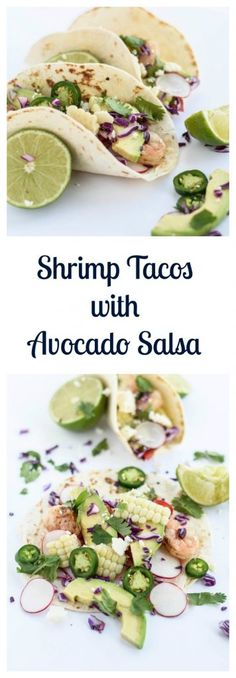 Shrimp Tacos with Avocado Salsa are the perfect weeknight meal or Cinco de Mayo party food! Fish Recipes, Seafood Recipes, Mexican Food Recipes, Dinner Recipes, Healthy Recipes, Ethnic Recipes, Simple Recipes, Nachos, Beer Girl