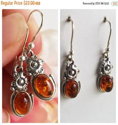 SALE 20% OFF Amber Earrings  Genuine Amber Earrings  Honey