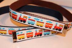 Boys Train Belt Velcro Reversible to Solid