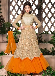 Trendy Cream Net Layered Floor Length #Anarkali