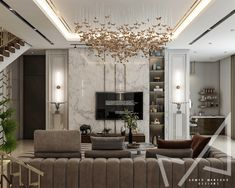 Living area with Neo-classic style on Behance Living Room Tv Unit Designs, Interior Design Living Room, Neoclassical Interior Design, Classic Living Room, Classic Interior, Master Bedroom Design, Classic Style, French Style, Living Area