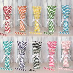 Colorful straws to compliment colorful drinks.  Photo credit blovelyevents.com