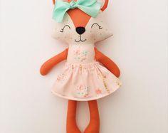 Items similar to Fox doll - fox nursery - baby gift - nursery decor - woodland nursery - cloth doll - birthday gift on Etsy Gifts For Girls, Girl Gifts, Baby Gifts, Fox Nursery, Woodland Nursery Decor, Nursery Crib, Sewing Toys, Fabric Dolls, Rag Dolls