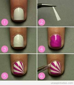 easy nail art designs to do at home step by step Uk Nails, Love Nails, Pretty Nails, Hair And Nails, Nail Art Blog, Nail Art Diy, Easy Nail Art, Easy Art, Water Color Nails