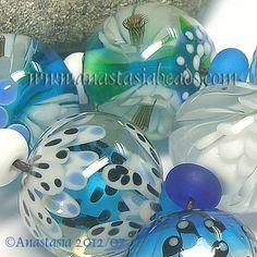 """ANASTASIA--lampwork beads--(7)--""""WATERGARDEN""""--SRA"""