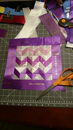 Recycled horse show ribbon ombre quilt square