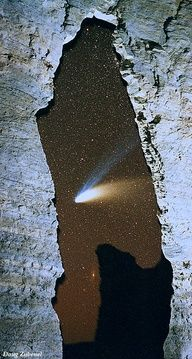 Hale-Bopp Comet seen through the Keyhole Arch at Monument Rocks Natural Landmark, Kansas, USA