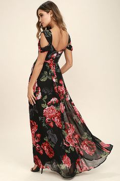Lulus Exclusive! All your worries will disappear when you slip into the Take It From Here Black Floral Print Maxi Dress! An elegant black, red, and green floral print shapes double shoulder straps that lead into a gathered surplice bodice with a sweetheart neckline. Pleated empire waist flows into an elegant woven maxi skirt. Hidden back zipper/clasp.