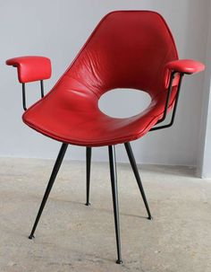 Gastone Rinaldi Attributed; Enameled Metal, Brass and Leather Armchair for Rima, c1950.