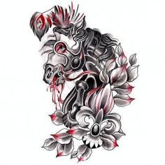 Black and Red Trash Horse Tattoo Design