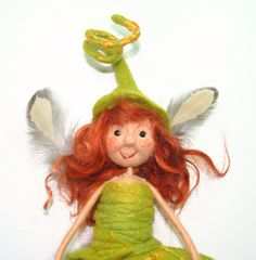quirky unique  Felt art doll  fiber art faerie  by IrishFeltFairy
